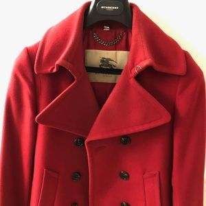 Burberry London Red Double Breasted Wool Coat - XS